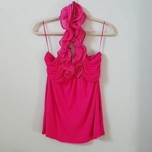 Express Bright Fuchsia Pink Ruffle Halter Top